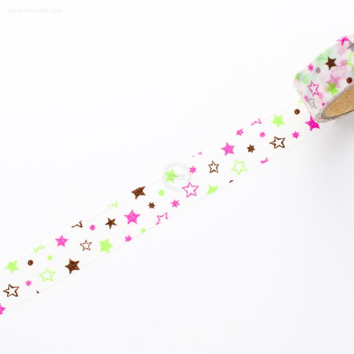 デザインマスキングテープ ネオンスター グリーン&ピンク(36336)【ネコポスOK】