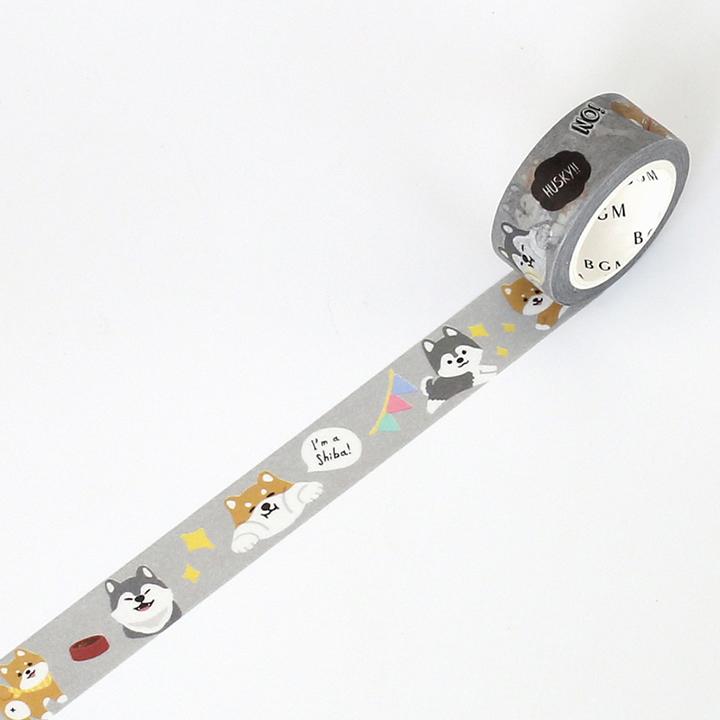 BGMマスキングテープ Life 15mm シバイヌ(BM-LA026)【ネコポスOK】