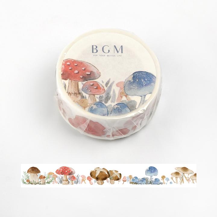 BGMマスキングテープ Life 15mm キノコ(BM-LA037)【ネコポスOK】