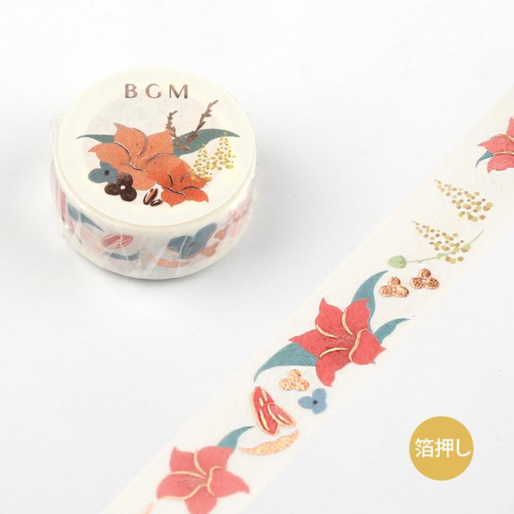《予約受付中・10月中旬入荷予定》BGMマスキングテープ Life 箔押し 15mm レッドフラワー(BM-LGCA006)【ネコポスOK】