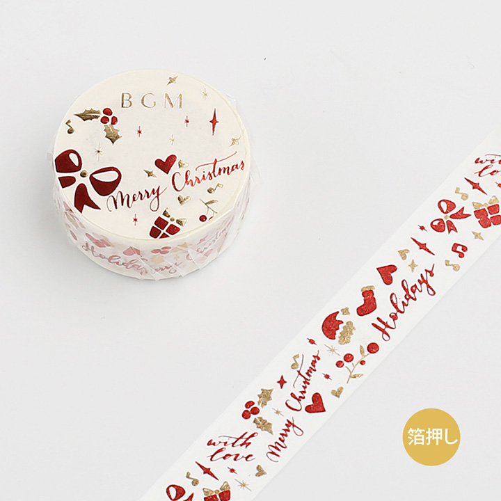 《ご予約商品・10月中旬入荷予定》BGM 2019クリスマスマスキングテープ 箔押し クリスマス・プレゼント(BM-SPLM003)【ネコポスOK】