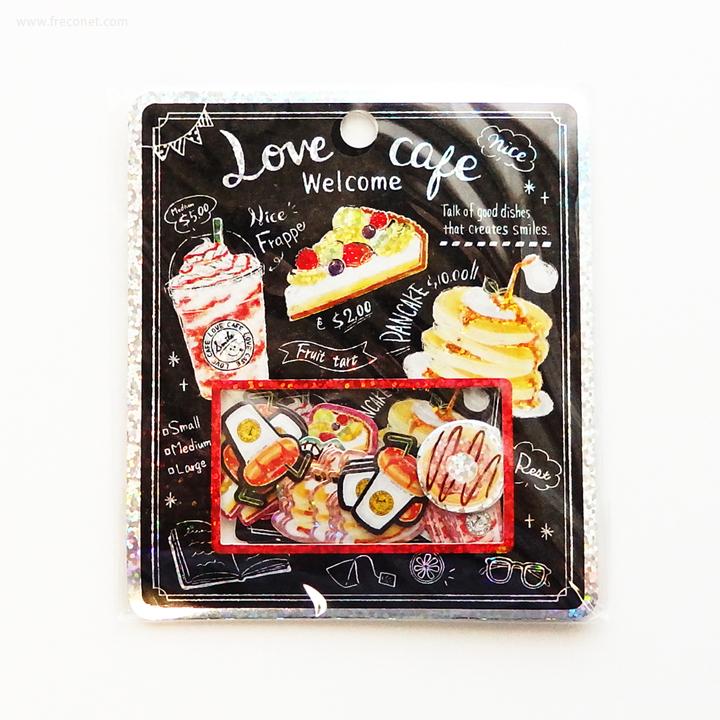 キラキラホログラムフレークシール Love cafe(04224)【ネコポスOK】
