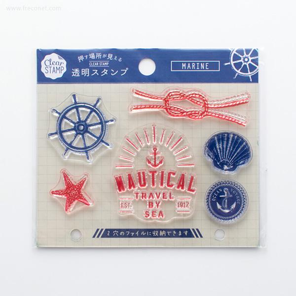 手帳スタンプ こどものかお クリアスタンプシートJ MARINE(0979-006)【ネコポスOK】