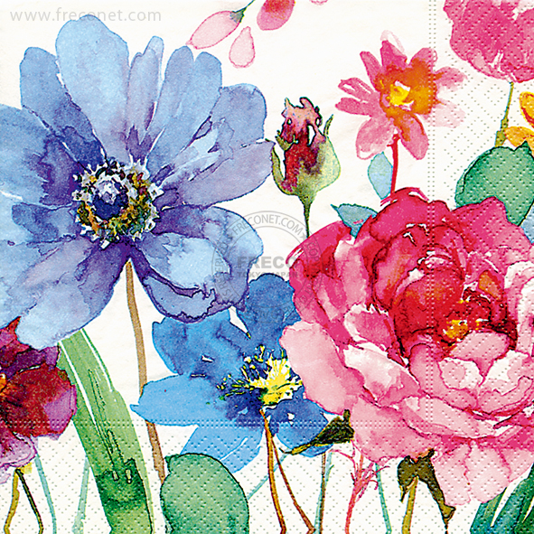 Paper+Design ペーパーナプキン <ランチ> Watercolor flowers(21706)【宅急便配送】