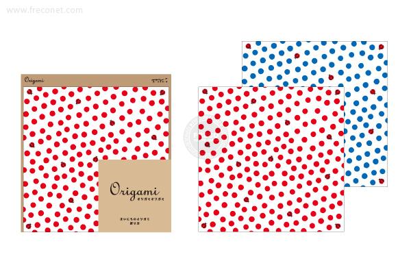 オリガミ <15角> てんとう虫柄 赤・青(34357-006)【ネコポスOK】