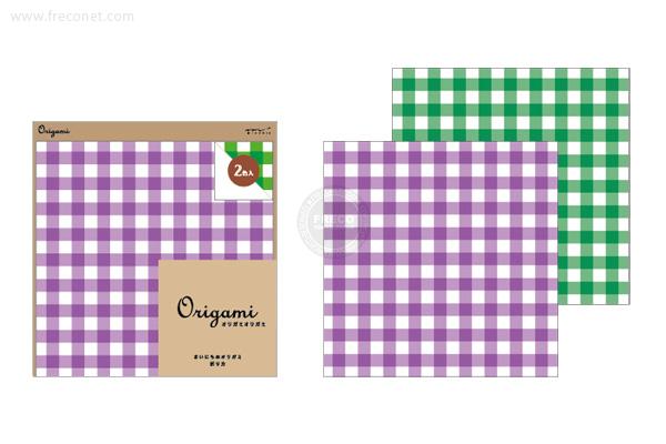 オリガミ <15角> チェック柄 紫・緑(34372-006)【ネコポスOK】