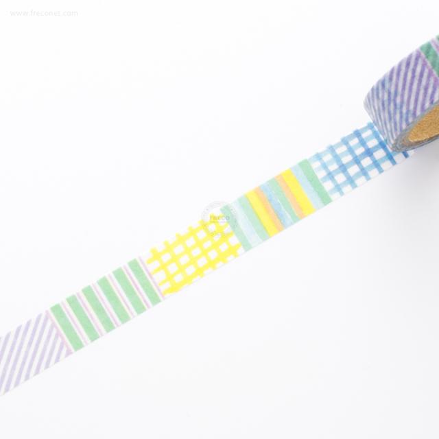 デザインマスキングテープ 水彩パターン ストライプ(44119)【ネコポスOK】