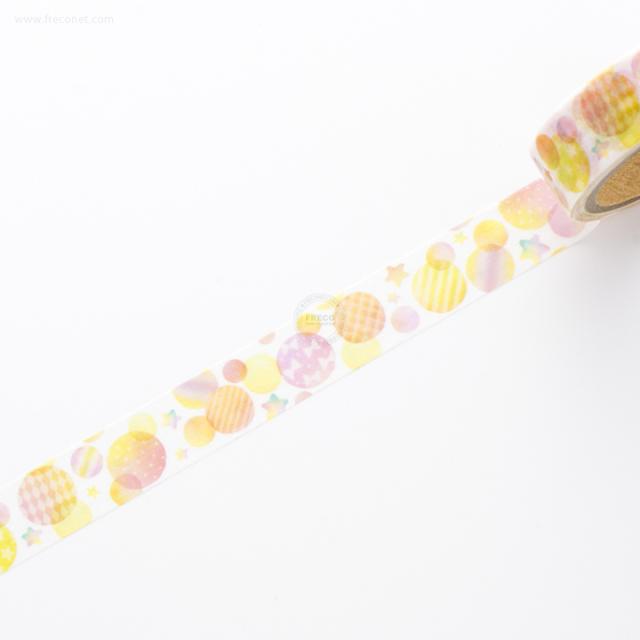 デザインマスキングテープ 水彩シャボン イエロー(44294)【ネコポスOK】