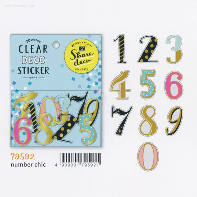 クリアデコステッカー モチーフ number chic(79592)【ネコポスOK】