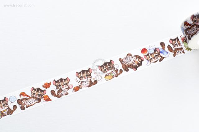 自己印マスキングテープ Leopard cat life【ネコポスOK】
