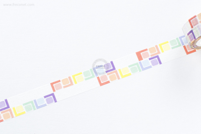 自己印マスキングテープ colorful cubes-1【ネコポスOK】