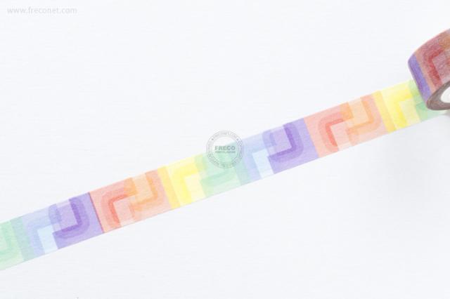 自己印マスキングテープ colorful cubes-2【ネコポスOK】