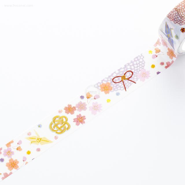 祝金箔入マスキングテープ 飾り紐・折り鶴と桜【ネコポスOK】