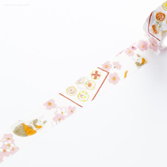 祝金箔入マスキングテープ 手まり寿司・猫と桜【ネコポスOK】