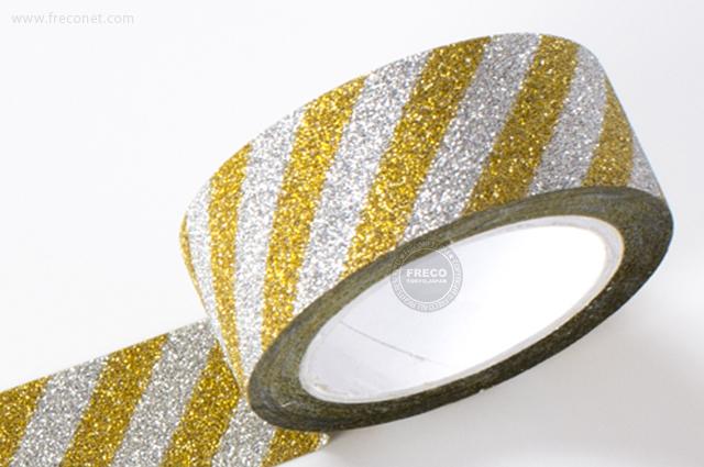 グリッターテープ ストライプ/ゴールド(AR0817017)【ネコポスOK】