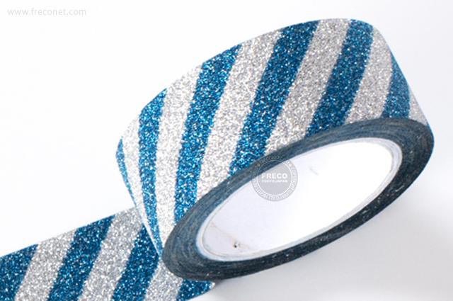 グリッターテープ ストライプ/ブルー(AR0817019)【ネコポスOK】