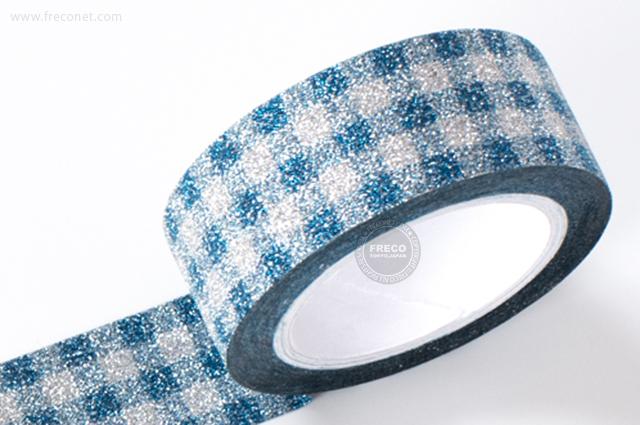 グリッターテープ チェック/ブルー(AR0817022)【ネコポスOK】