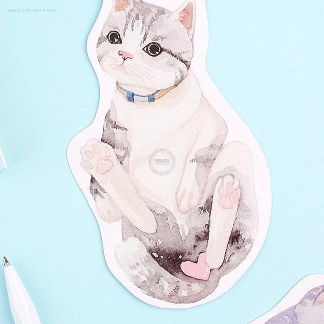 BGMメッセージカード(ダイカット/封筒付き) 可愛いネコA(BC-YNC01)【ネコポスOK】