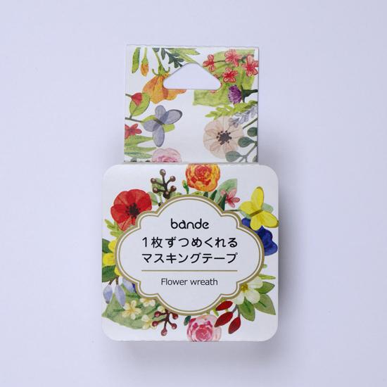 bande マスキングロールステッカー Flower wreath(BDA402)【ネコポスOK】
