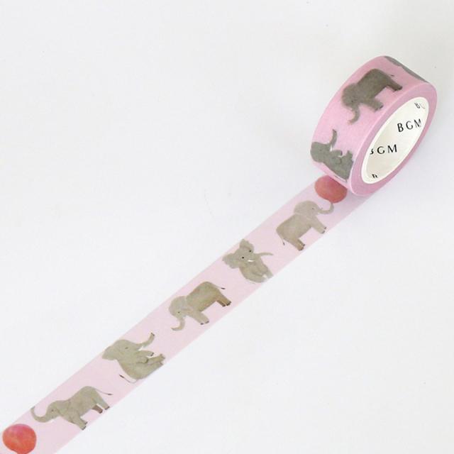 BGMマスキングテープ Life 15mm ゾウ(BM-LA022)【ネコポスOK】