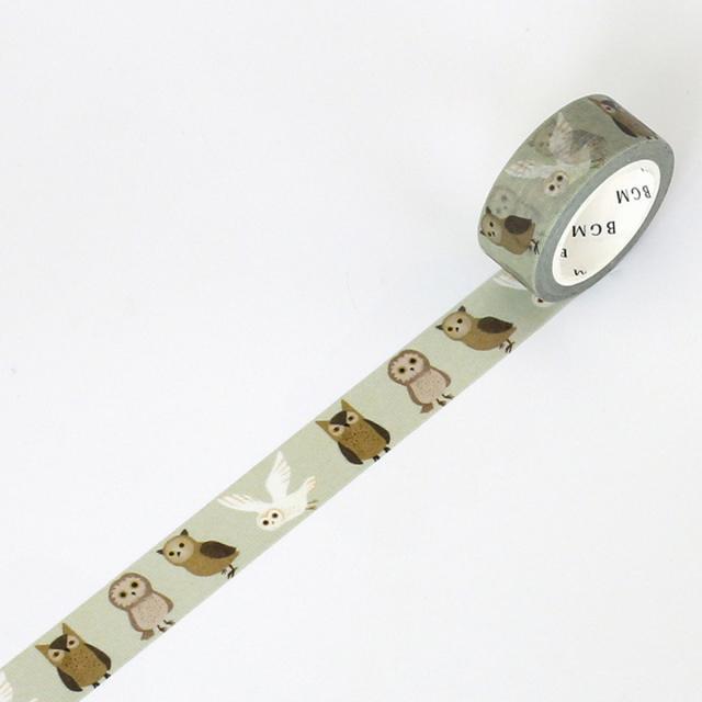 BGMマスキングテープ Life 15mm ミミズク(BM-LA024)【ネコポスOK】