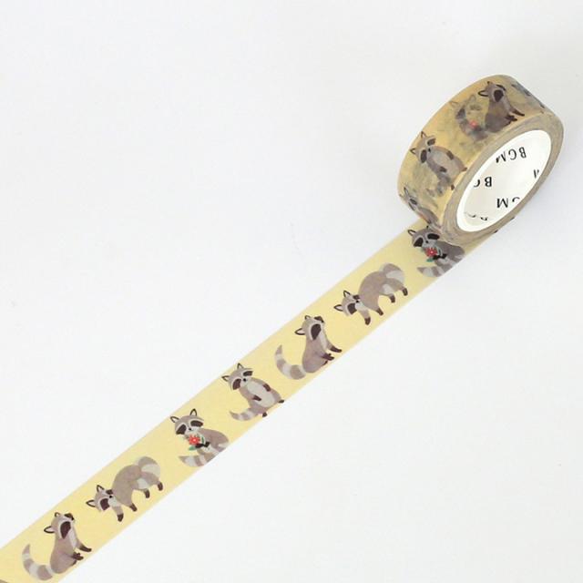 BGMマスキングテープ Life 15mm アライグマ(BM-LA025)【ネコポスOK】