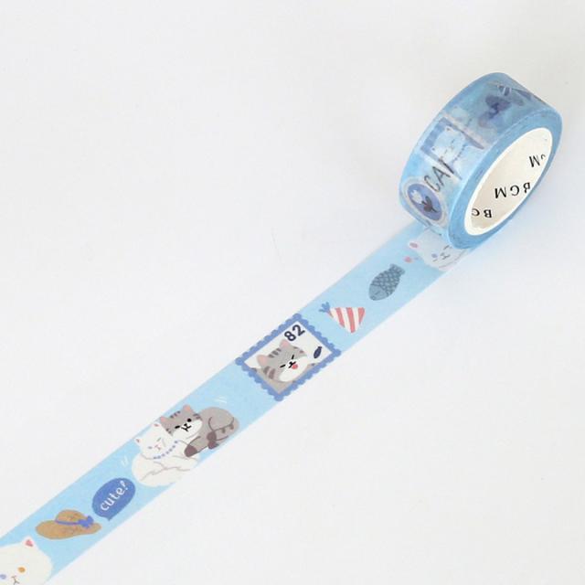 BGMマスキングテープ Life 15mm ペルシャネコ(BM-LA028)【ネコポスOK】