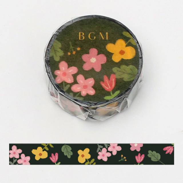 《ご予約商品・18日より順次発送》BGMマスキングテープ 15mm 花畑・ダーク(BM-LA060)【ネコポスOK】