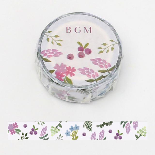 《ご予約商品・18日より順次発送》BGMマスキングテープ 15mm 花畑・ライト(BM-LA061)【ネコポスOK】
