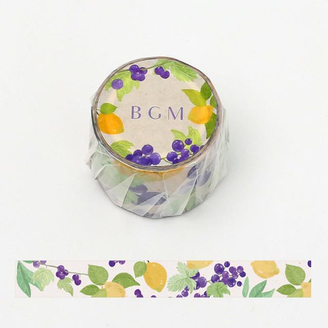 《ご予約商品・18日より順次発送》BGMマスキングテープ 30mm グレープレモン(BM-LB018)【宅急便配送】