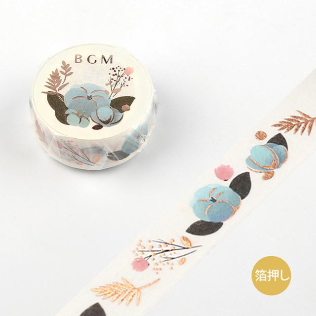 BGMマスキングテープ Life 箔押し 15mm ブルーフラワー(BM-LGCA005)【ネコポスOK】