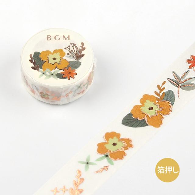 BGMマスキングテープ Life 箔押し 15mm イエローフラワー(BM-LGCA007)【ネコポスOK】