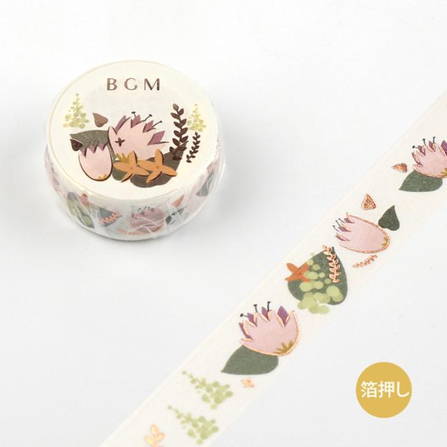 《予約受付中・10月中旬入荷予定》BGMマスキングテープ Life 箔押し 15mm ピンクフラワー(BM-LGCA008)【ネコポスOK】