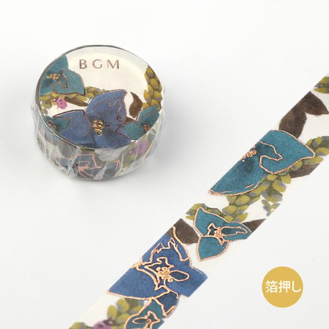《予約受付中・10月中旬入荷予定》BGMマスキングテープ Life 箔押し 15mm ツユクサ(BM-LGCA012)【ネコポスOK】