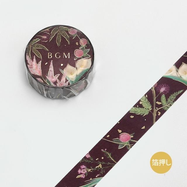 BGMマスキングテープ Life 箔押し15mm ガーデン レッド(BM-LGCA022)【ネコポスOK】