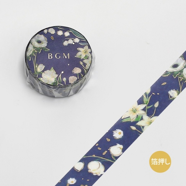 BGMマスキングテープ Life 箔押し15mm ガーデン ブルー(BM-LGCA024)【ネコポスOK】