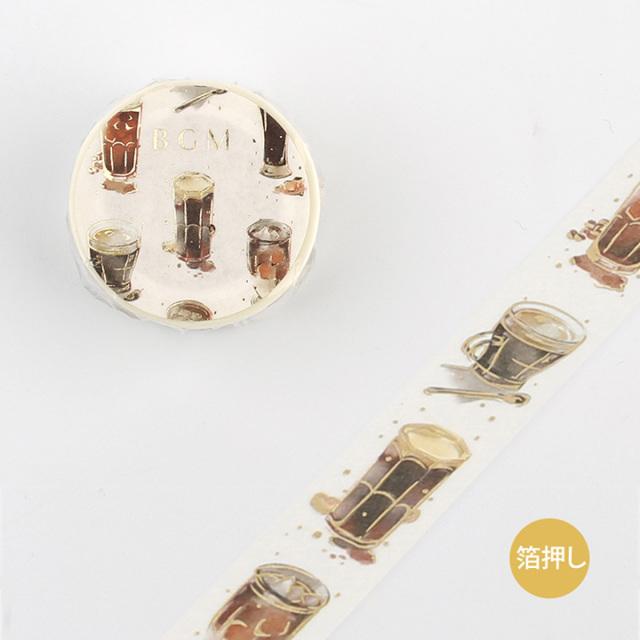 BGMマスキングテープ Life 箔押し アイスコーヒー(BM-LGWD004)【ネコポスOK】