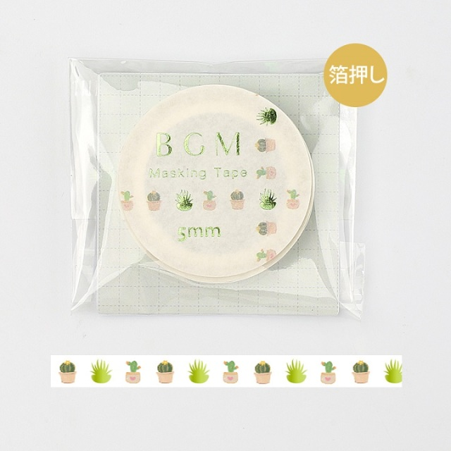 BGMマスキングテープ Life 箔押し5mm キュートサボテン(BM-LSG014)【ネコポスOK】
