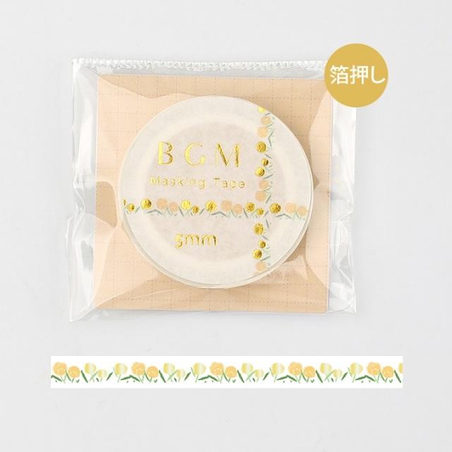BGMマスキングテープ Life 箔押し5mm 花畑(BM-LSG016)【ネコポスOK】