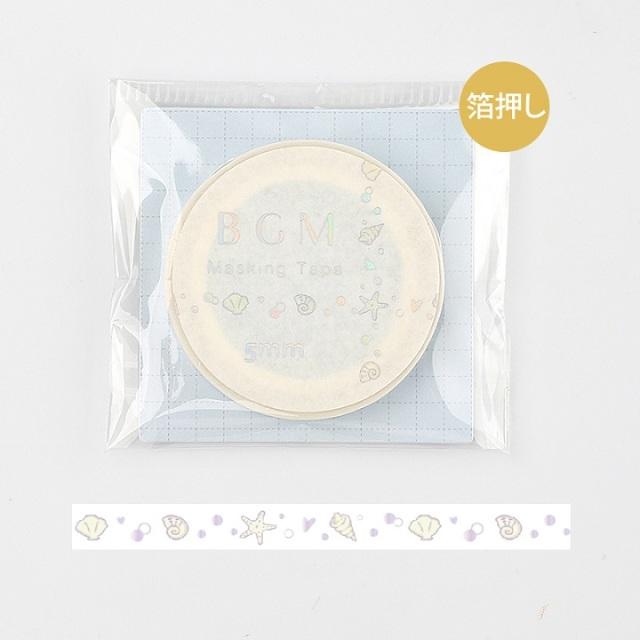 BGMマスキングテープ Life 箔押し5mm 貝殻(BM-LSG018)【ネコポスOK】