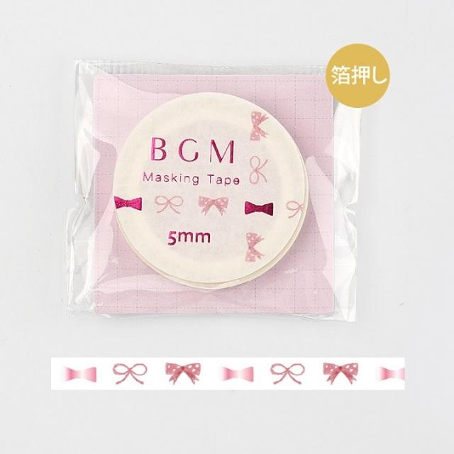 BGMマスキングテープ Life 箔押し5mm ピンクリボン(BM-LSG019)【ネコポスOK】