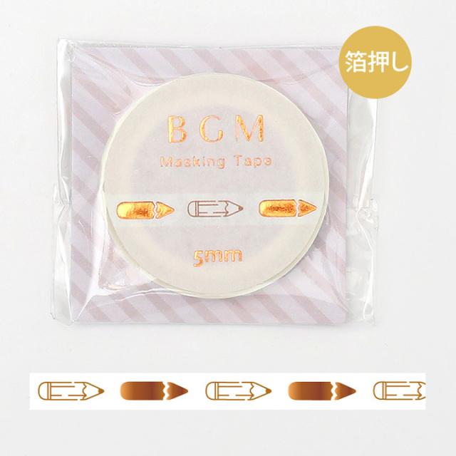 《ご予約商品・18日より順次発送》BGMマスキングテープ 箔押し5mm えんぴつ(BM-LSG029)【ネコポスOK】