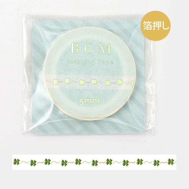 BGMマスキングテープ 箔押し5mm リトルクローバー(BM-LSG031)【ネコポスOK】
