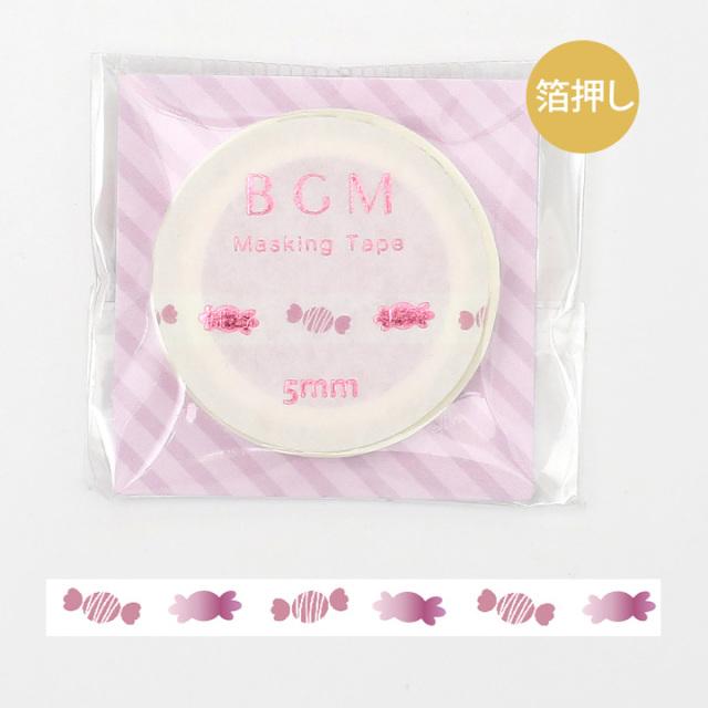 《ご予約商品・18日より順次発送》BGMマスキングテープ 箔押し5mm キャンディ(BM-LSG033)【ネコポスOK】