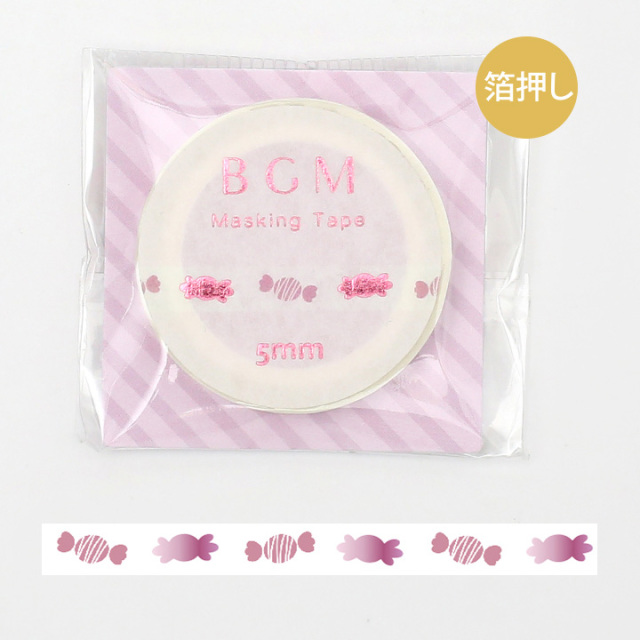 BGMマスキングテープ 箔押し5mm キャンディ(BM-LSG033)【ネコポスOK】