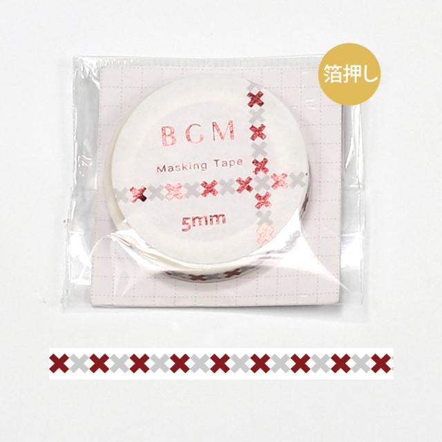 BGMマスキングテープ スペシャル 箔押し 記号 バッテン・赤(BM-SPKG010)【ネコポスOK】