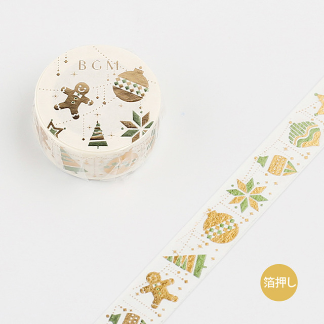 《ご予約商品・10月中旬入荷予定》BGM 2019クリスマスマスキングテープ 箔押し クリスマス・オーナメント(BM-SPLM001)【ネコポスOK】