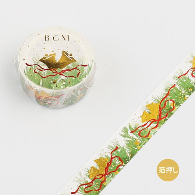 《ご予約商品・10月中旬入荷予定》BGM 2019クリスマスマスキングテープ 箔押し クリスマス・ジングルベル(BM-SPLM002)【ネコポスOK】