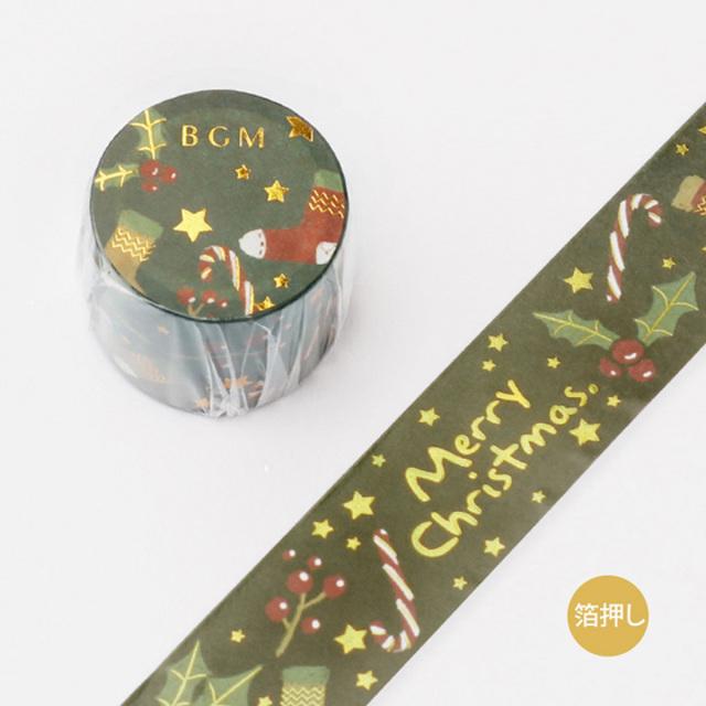 《ご予約商品・10月中旬入荷予定》BGM 2019クリスマスマスキングテープ 箔押し クリスマス・夜(BM-SPLM005)【宅急便配送】