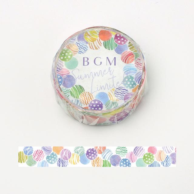 【夏限定2020】BGMマスキングテープ 15mm 夏・水風船(BM-SPLN012)【ネコポスOK】